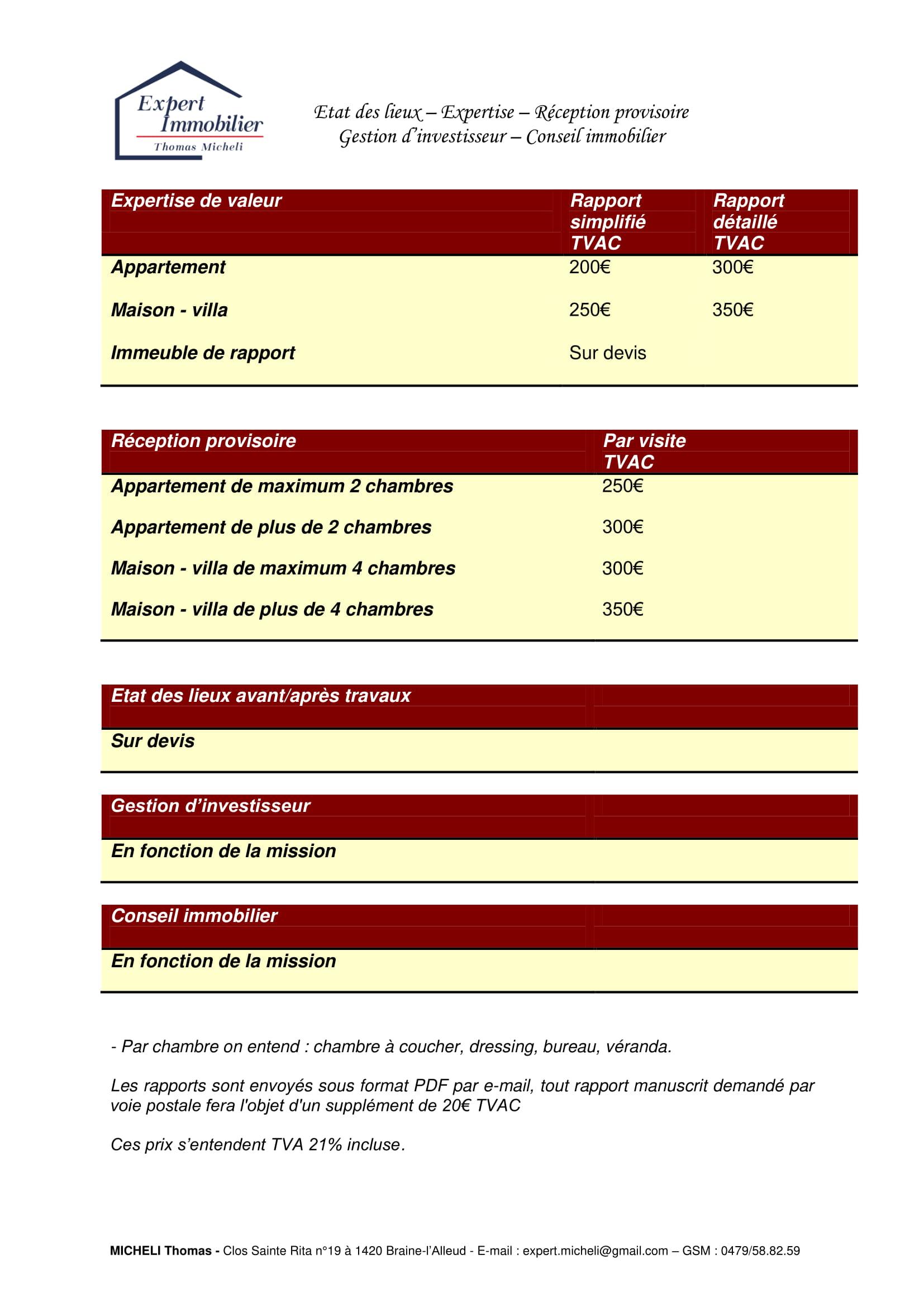 Etat des lieux expertise réception provisoire gestion d'investisseur conseils immobiliers